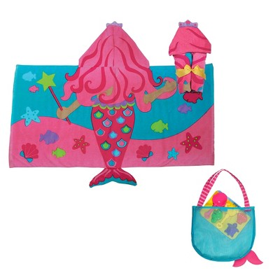 Stephen Joseph Cotton 3 Piece Hooded Beach and Bath Mermaid Theme Towel and Beach Carry Tote Bag and Mermaid Toy Set Accessory