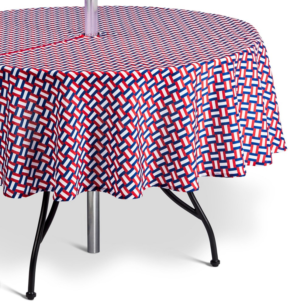 Summer Wipeable Basket Weave Tablecloth, Wowzer Red