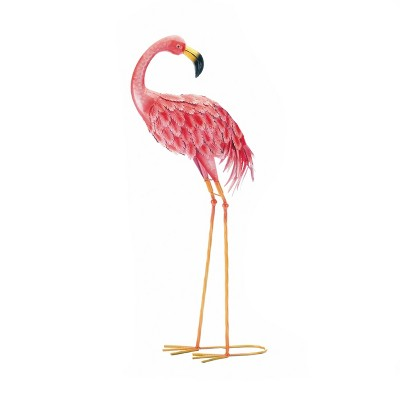"""33"""" Iron Standing Flamingo Looking Back Statue Bright Pink - Zingz & Thingz"""