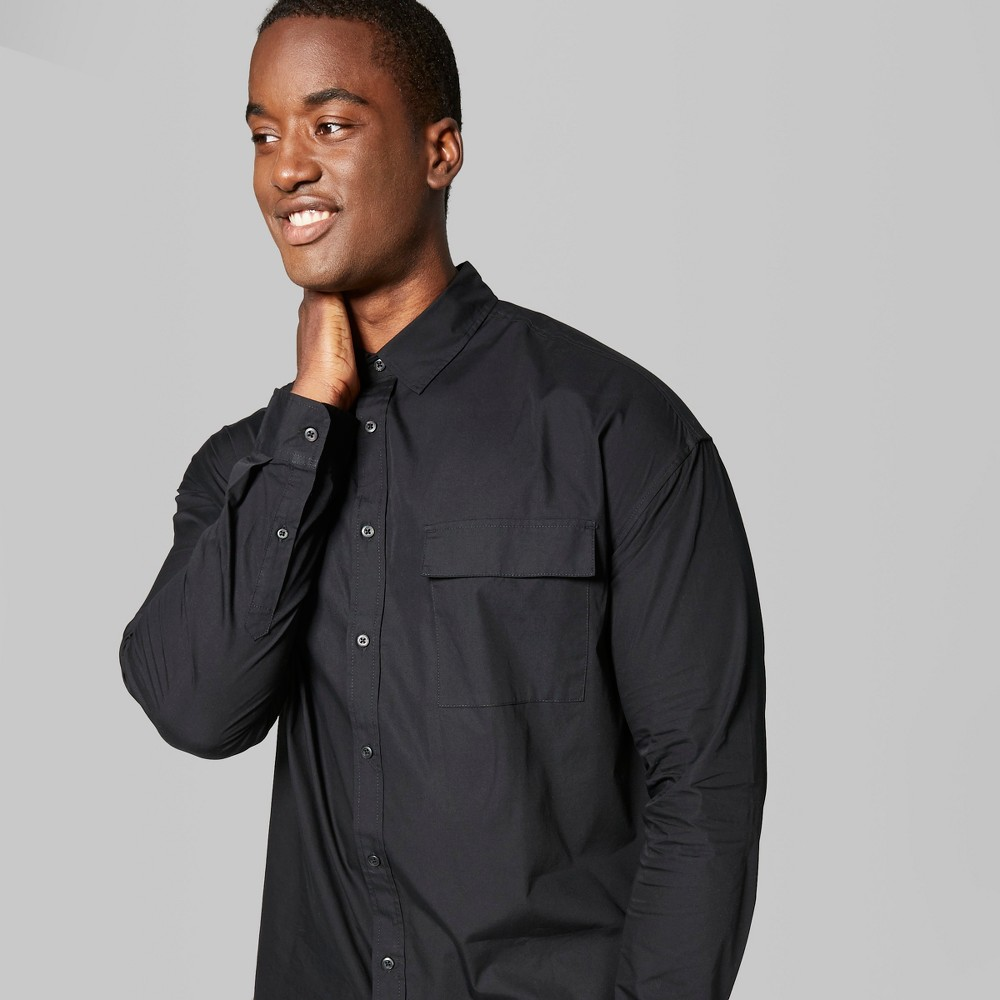 Men's Big & Tall Long Sleeve Long Line Button-Down Shirt - Original Use Black 5XB