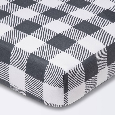 Fitted Crib Sheet Gingham - Cloud Island™ - Gray/White