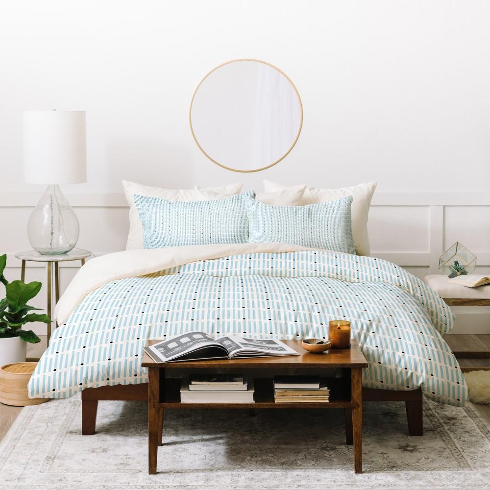 Twin/Twin XL Geometric Caroline Okun Keene Stripes Duvet Cover Set Blue - Deny Designs, White Blue