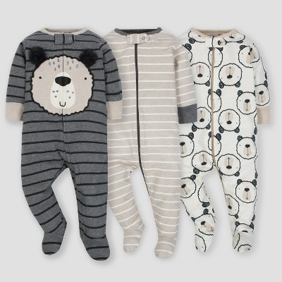 Gerber® Baby Boys' 3pk Sleep 'N Play Bear - Gray/Oatmeal 6/9M