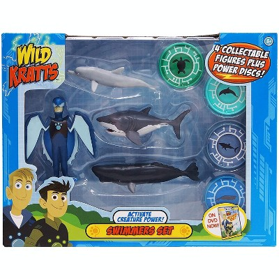 Jazwares Wild Kratts Action Figure Set - Activate Creature Power - Swimmers, 4 Pieces