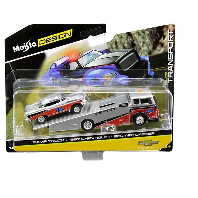 """1957 Chevrolet Bel Air Gasser #786 Silver and Red with Ramp Tow Truck """"Elite Transport"""" 1/64 Diecast Models by Maisto"""