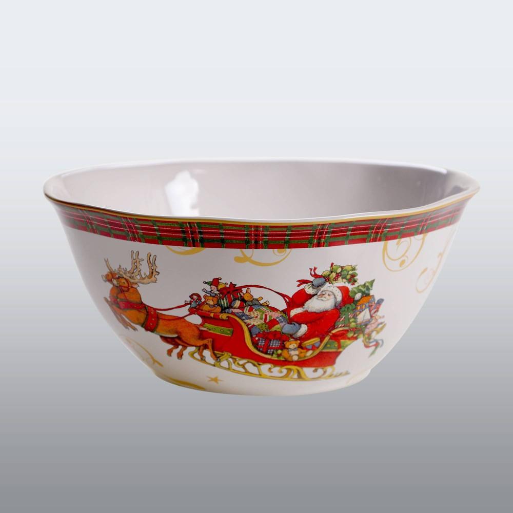 Image of 112oz Earthenware Vintage Santa Serving Bowl White - Certified International