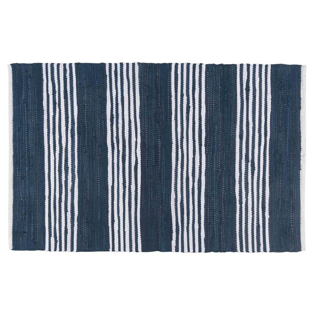 Blue Stripe Chindi Kitchen Floor Rug (2'X3')