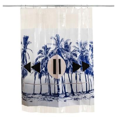 Palm Shower Curtain Blue/White - Room Essentials™