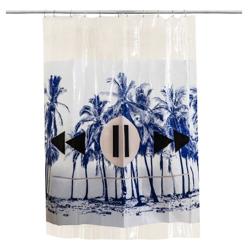 Palm Shower Curtain Blue/White - Room Essentials™ - image 1 of 3