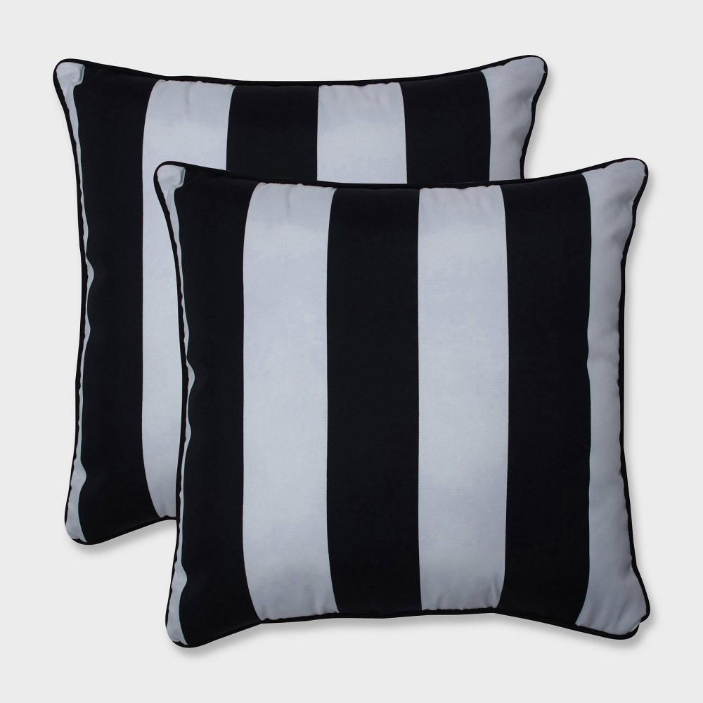 18.5 2pk Cabana Stripe Throw Pillows Black - Pillow Perfect
