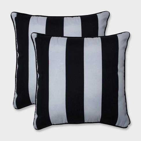 """18.5"""" 2pk Cabana Stripe Throw Pillows Black - Pillow Perfect - image 1 of 1"""