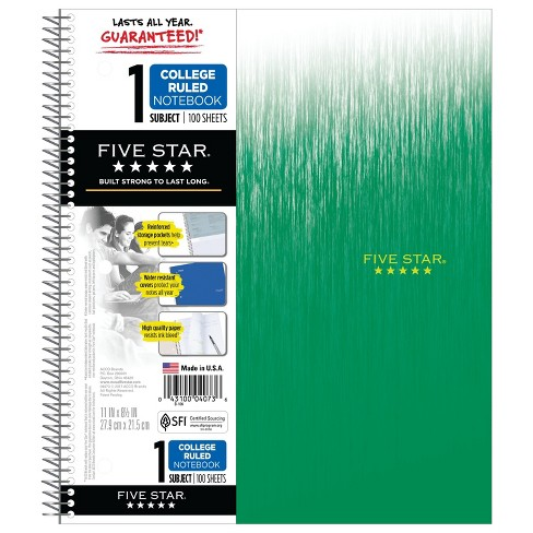 Spiral Notebook 1 Subject College Ruled - Five Star - image 1 of 2