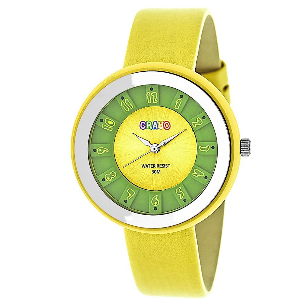 Image of Crayo Celebration Women's Leatherette Strap Watch - Yellow, Size: Small