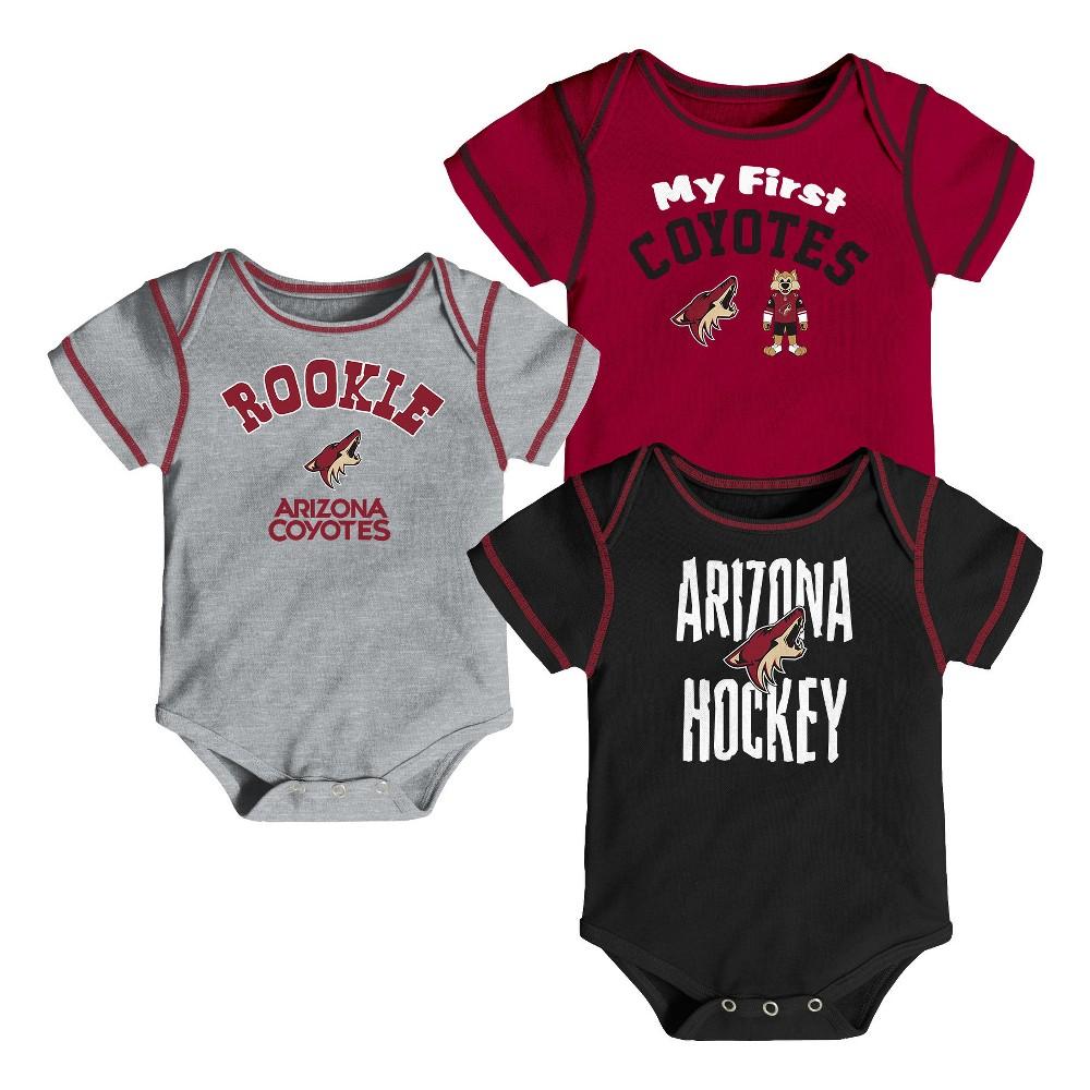 Arizona Coyotes Boys' Game Winner 3pk Body Suit Set 3-6M, Multicolored