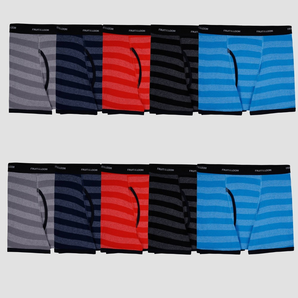 Fruit Of The Loom Boys 39 10pk Striped Boxer Briefs L