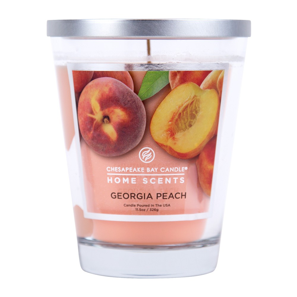 Image of 11.5oz Lidded Glass Jar Candle Georgia Peach - Home Scents By Chesapeake Bay Candle, Orange