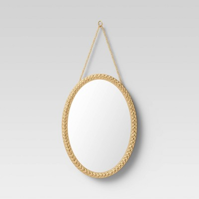 "10"" x 14"" Oval Metal Novelty Mirror Brass - Opalhouse™"