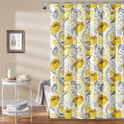 Poppy Garden Shower Curtain Yellow - Lush Décor