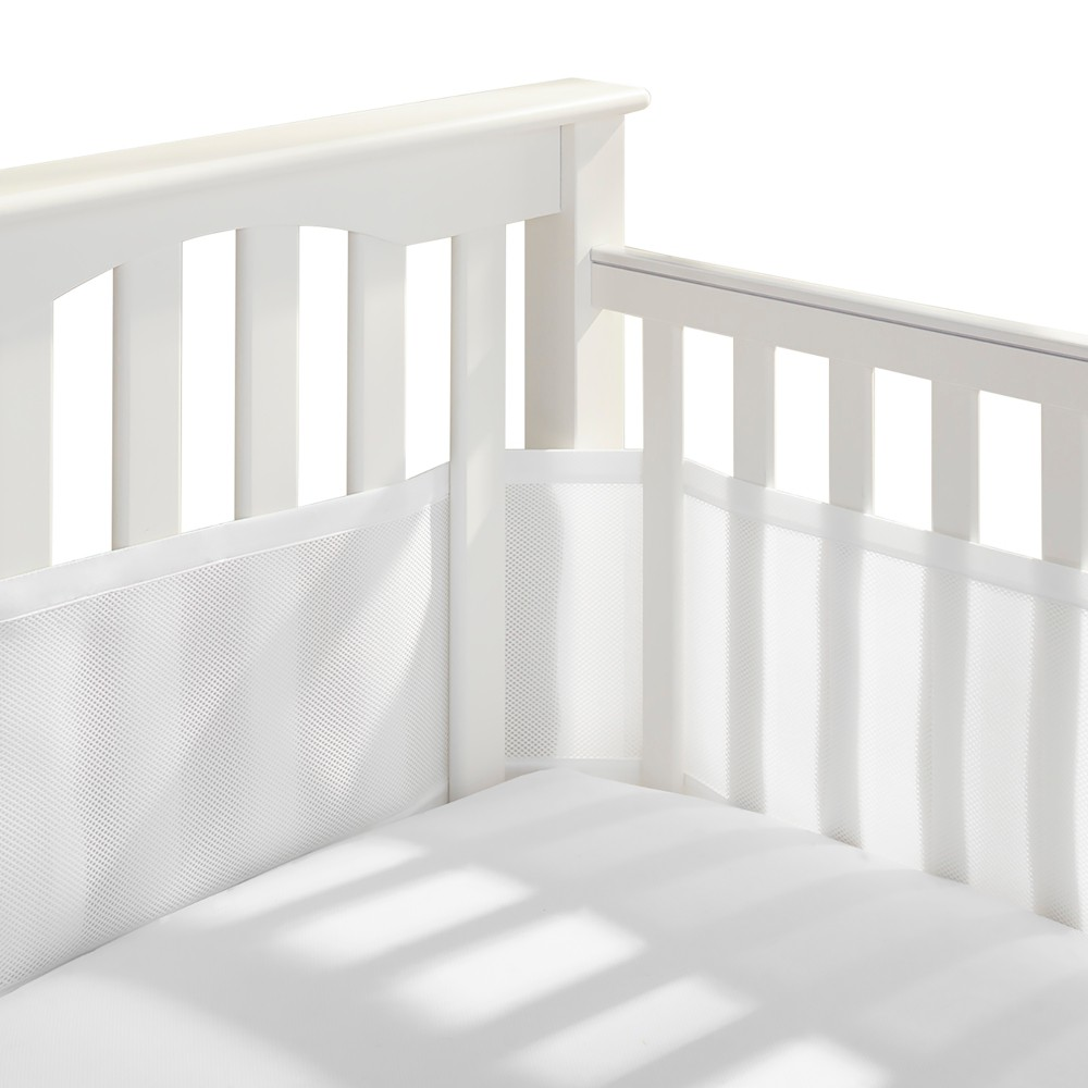 Image of Breathable Baby Solid Mesh Crib Liner - White
