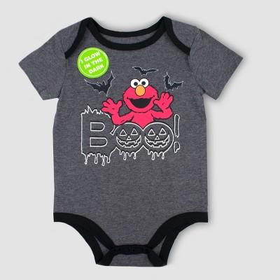 Baby Sesame Street Elmo Short Sleeve Bodysuit - Gray 3-6M