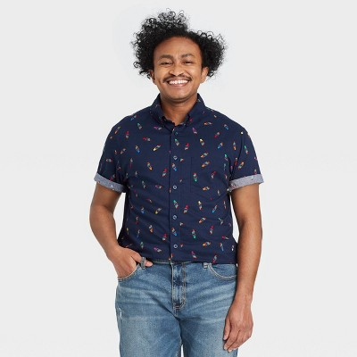 Pride Gender Inclusive Adult Ice Cream Print Short Sleeve Woven Button-Down Shirt - Navy