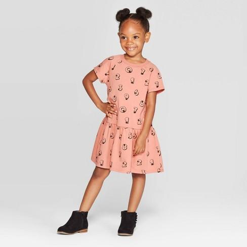 Toddler Girls' Short Sleeve 'Numbers' Peplum T-Shirt Dress - art class™ Pink - image 1 of 3