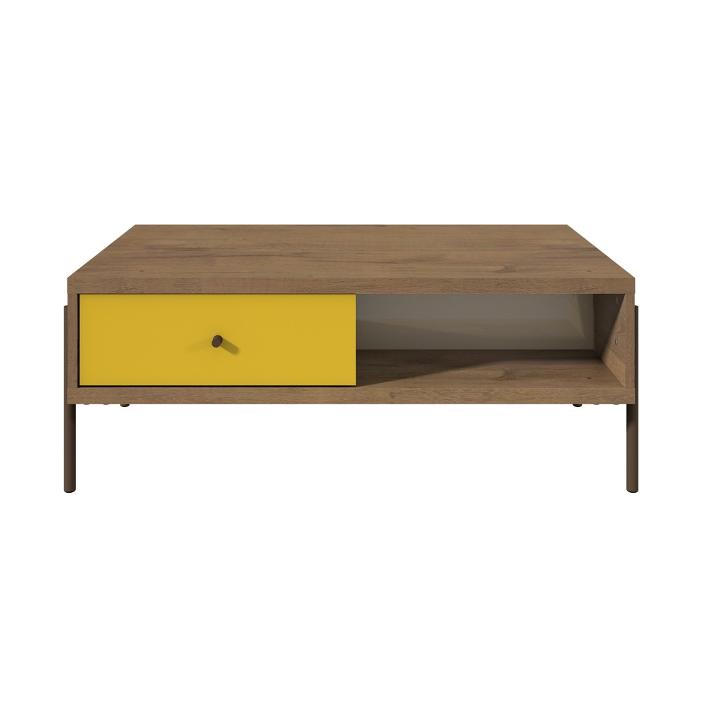 Joy Double Sided End Table Yellow / Off-White - Manhattan Comfort, Yellow/Beige