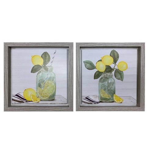 """2pk 8"""" x 8"""" Lemon Inset Art Framed - New View - image 1 of 4"""