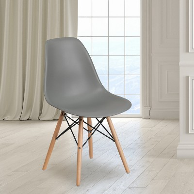 Flash Furniture Elon Series Plastic Chair with Wooden Legs