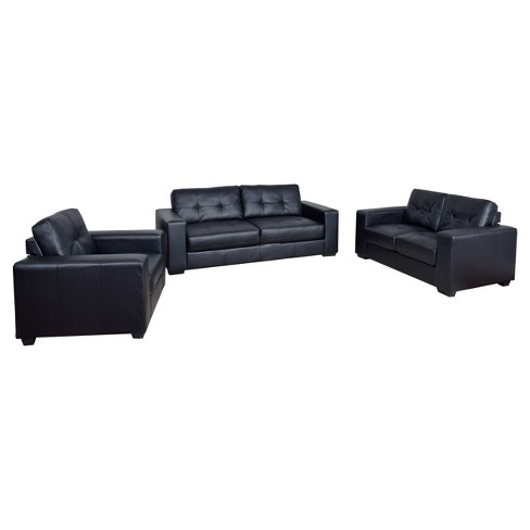 Club 3pc Tufted Black Bonded Leather Sofa Set - Corliving
