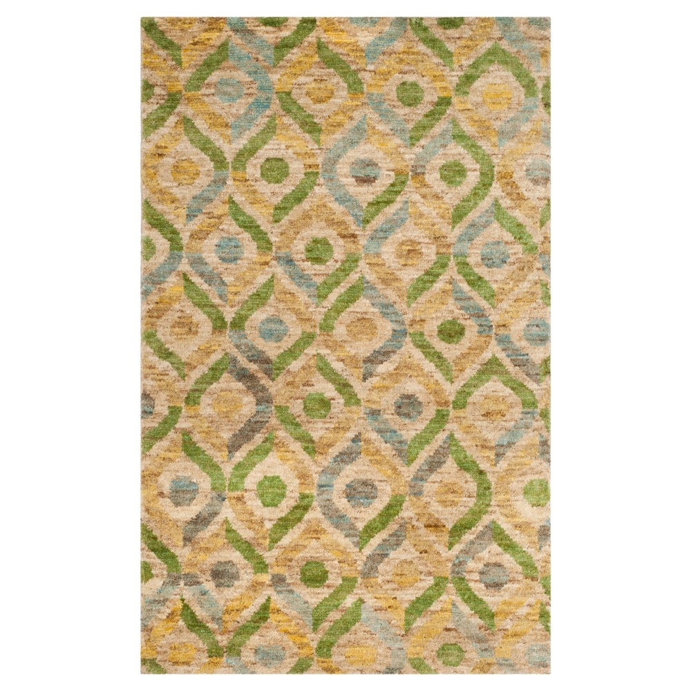 Bleach/Blue Abstract Knotted Area Rug - (5'X8') - Safavieh