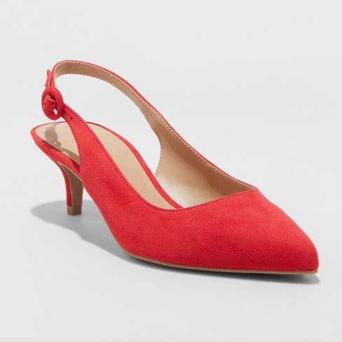 0525312d0bd Women s Meghan Kitten Heel Pumps - A New Day™ Red 5.5   Target