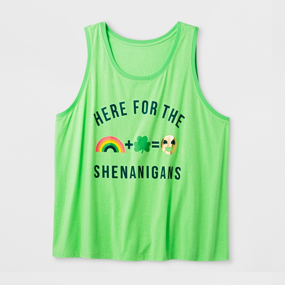 Women's Plus Size 'Here for The Shenanigans' Tank Top - Green 4X