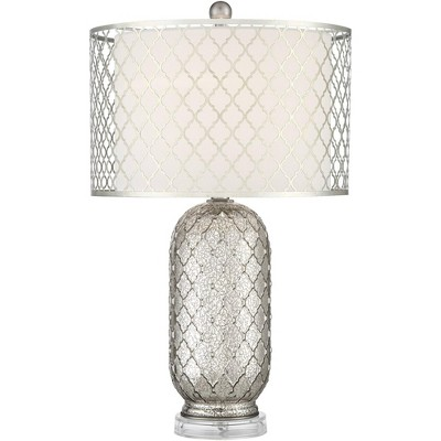 Possini Euro Design Modern Table Lamp Patterned Mercury Glass Double Metal Fabric Drum Shade Living Room Bedroom Bedside Office