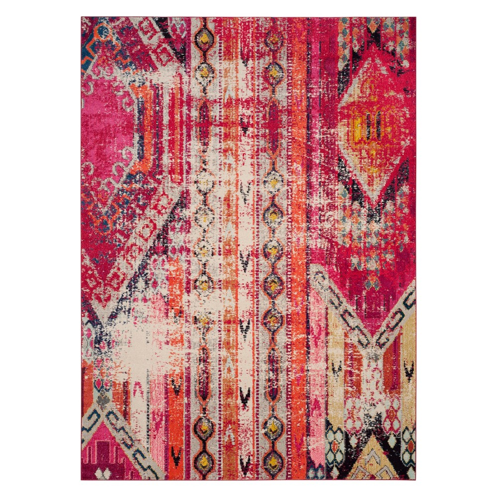Tribal Design Area Rug Magenta