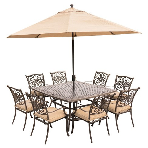 traditions 11pc square metal patio dining set w 11 umbrella stand tan hanover - Umbrella Patio