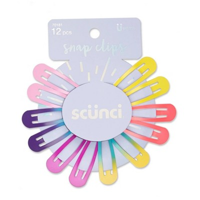 scunci Galaxy Top Rainbow Color Snap Clips - 12 ct