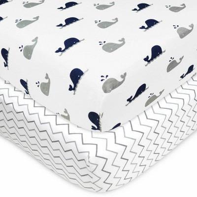 TL Care 100% Fitted Cotton Crib Sheet Whale Zigzag Navy/Gray - 2pk