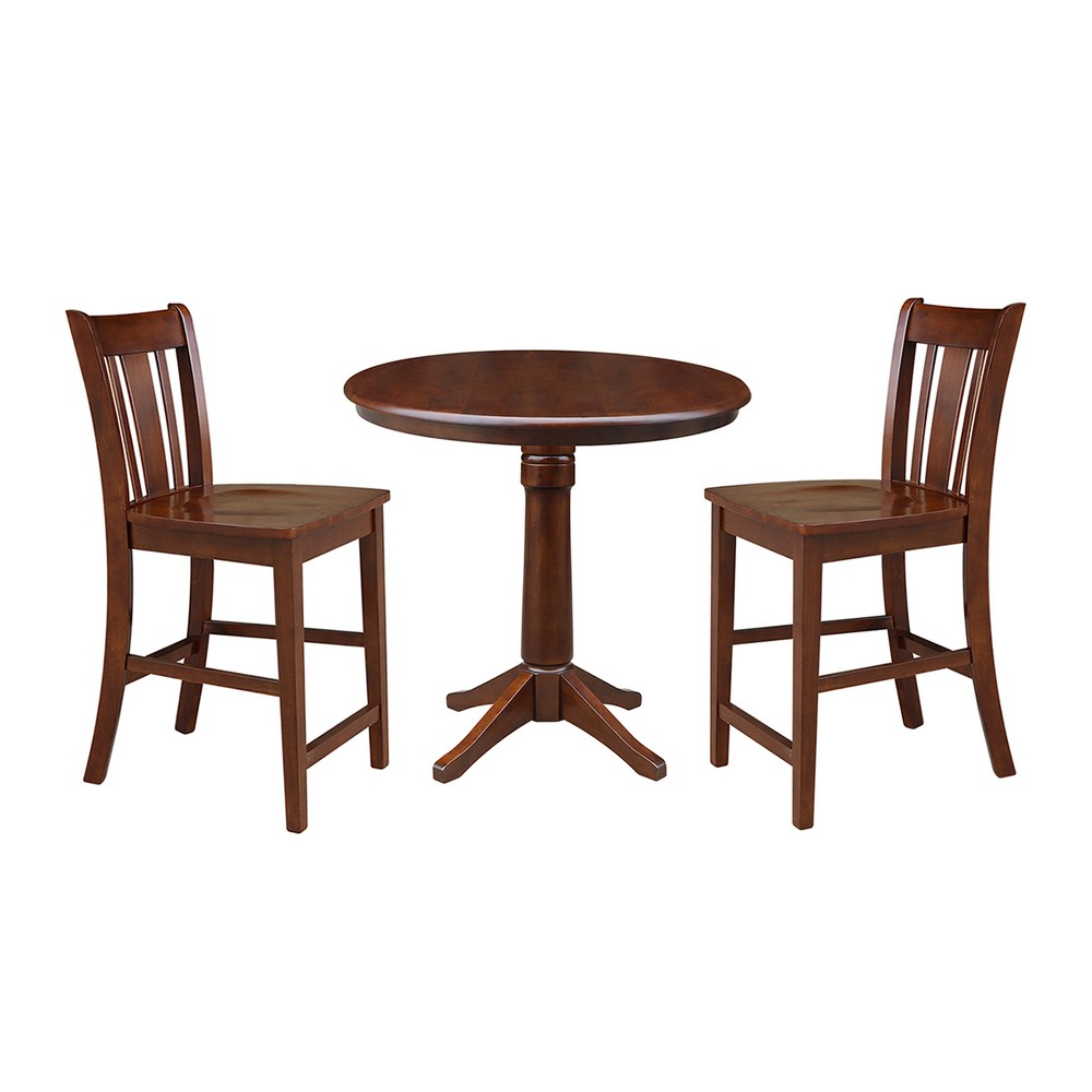36 3pc Kat Round Pedestal Gathering Height Table with 2 Stools Set Espresso - International Concepts, Brown