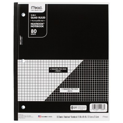 Mead Wireless Composition Notebook Quad - Ruled - Black