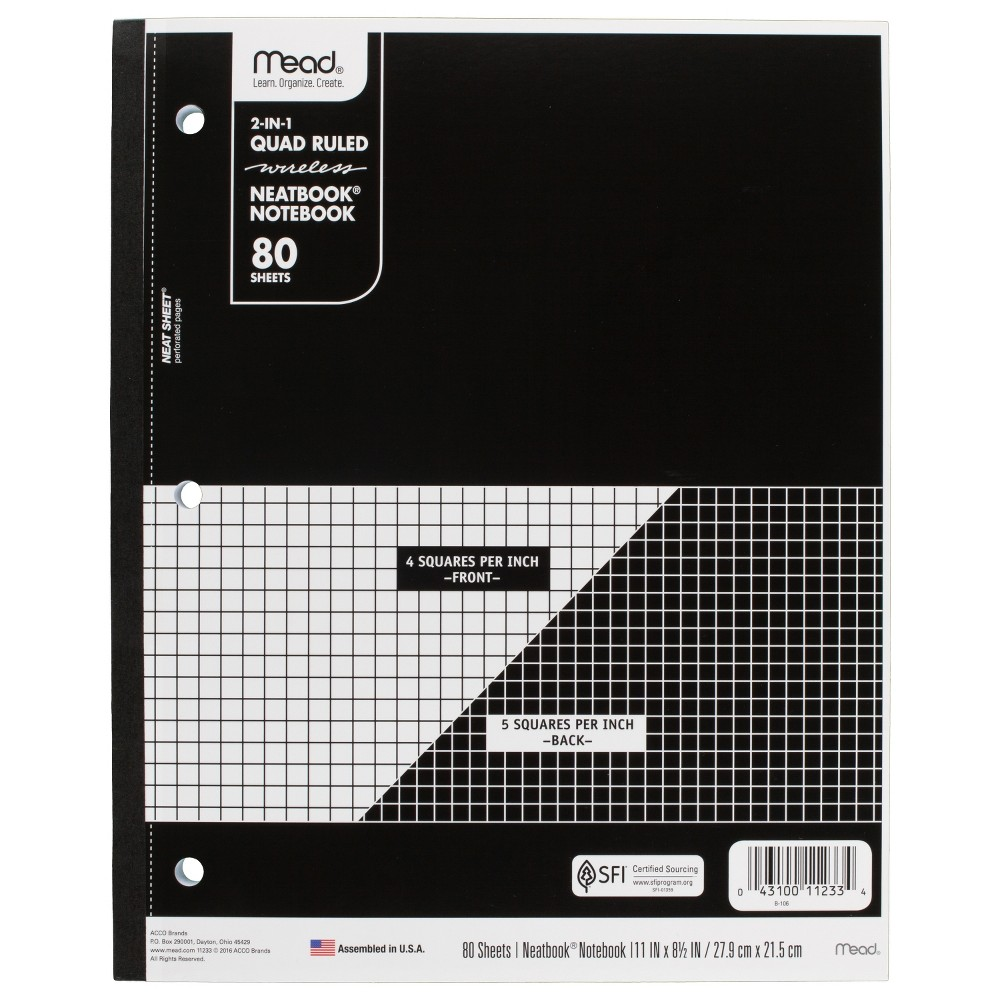 Image of Mead Wireless Composition Notebook Quad - Ruled - Black
