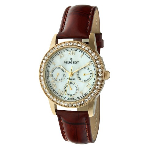 Women's Peugeot Multi-Function Leather Strap Watch with crystals from Swarovski Accents - Gold & Brown - image 1 of 1