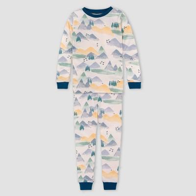 Burt's Bees Baby® Boys' 2pc Mountains Organic Cotton Pajama Set - Blue