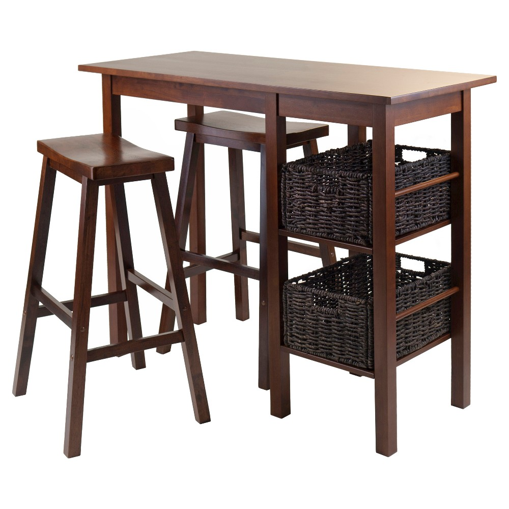 5 Piece Egan Set Breakfast Table with Baskets And Saddle Stools Wood/Walnut& Chocolate - Winsome, Brown