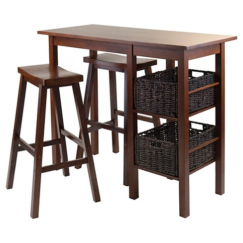 5 Piece Egan Set Breakfast Table with Baskets And Saddle Stools Wood/Walnut& Chocolate - Winsome - image 1 of 3