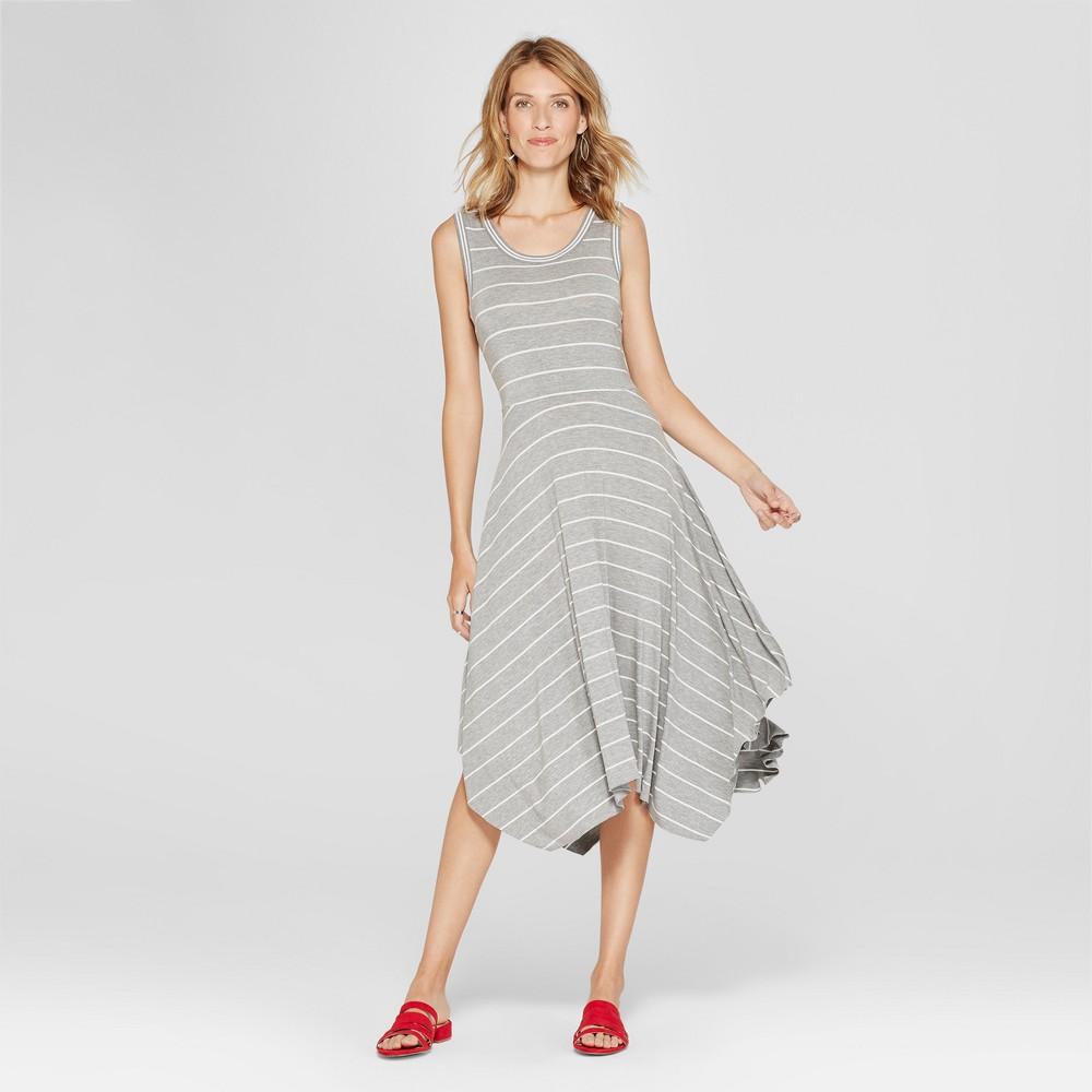 Women's Striped Handkerchief Hem Dress - Spenser Jeremy - Gray/White M
