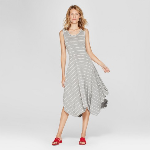 5808e0f34b0f Women s Striped Hankercheif Hem Dress - Spenser Jeremy - Gray White ...