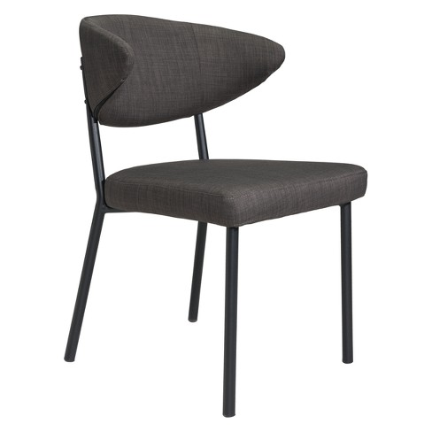 Mid Century Modern Dining Chair Set Of 2 Charcoal Gray Zm Home