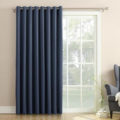 Seymour Extra Wide Energy Efficient Patio Door Curtain Panel Navy 100 x84 - Sun Zero