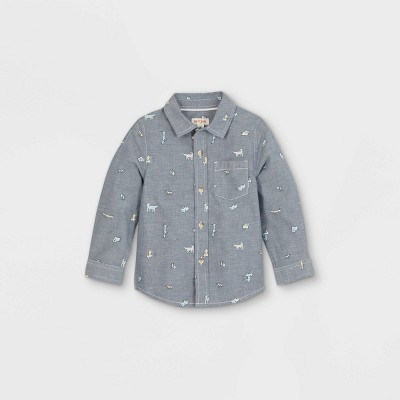 Toddler Boys' Puppy Print Woven Long Sleeve Button-Down Shirt - Cat & Jack™ Blue 12M